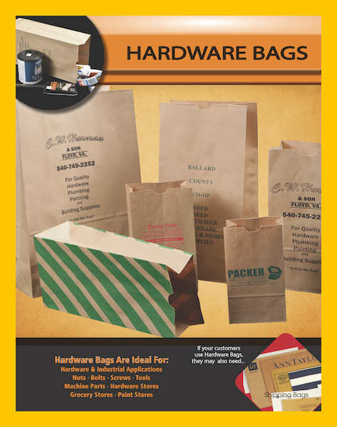 Brown paper sacks wine liquor hardware parts bags