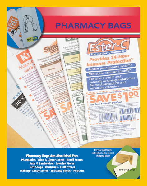 White Paper Printed Pharmacy Bags Drug Rx