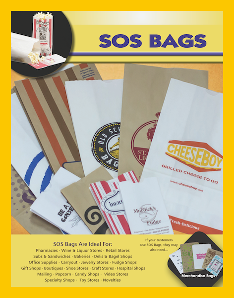 SOS popcorn hamburger french fry bread baguette printed food carryout bags sacks