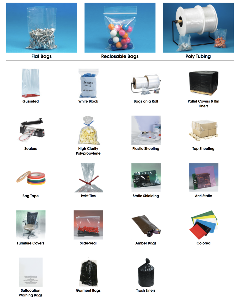 Plastic bags as roll film sheeting for covers parts trash equipment