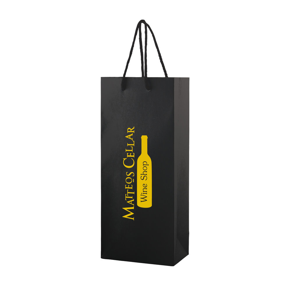 Black matte finish euro tote paper bag with rope handles wine shoe bags