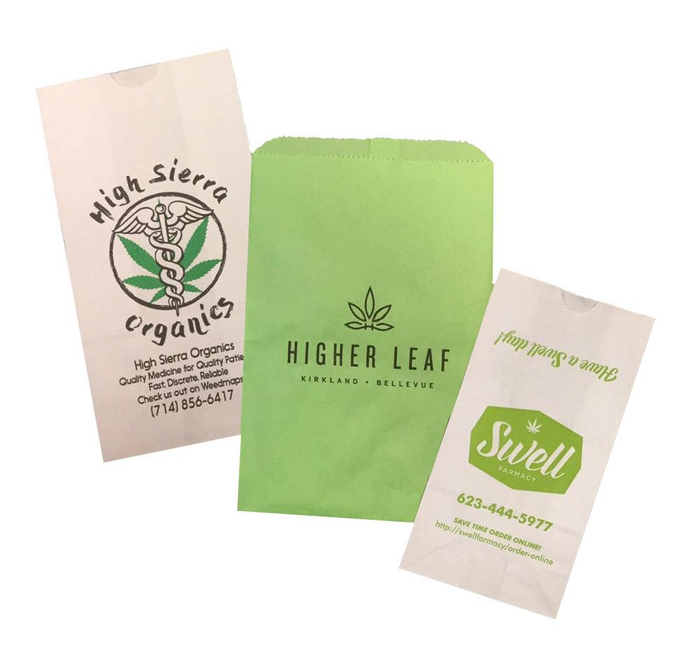 Medical marijuana dispensary bags mj mmj 420 pot leaf retail shop bags