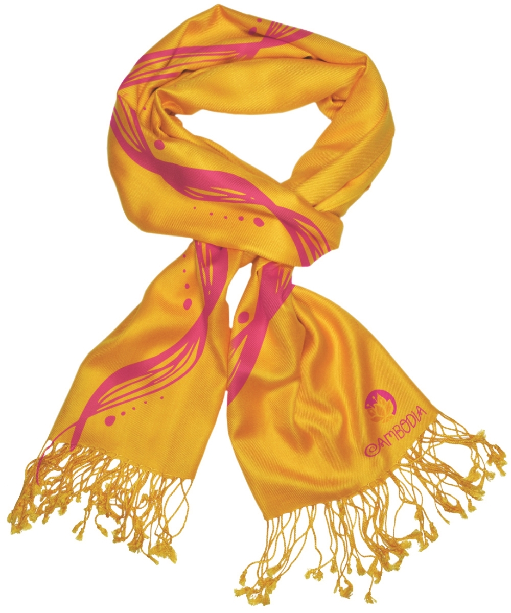 Product design for promotional silk pashmina scarves.