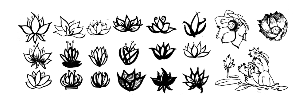 Process for lotus icon design explores different moods and details of Cambodia's abundant lotus flower.