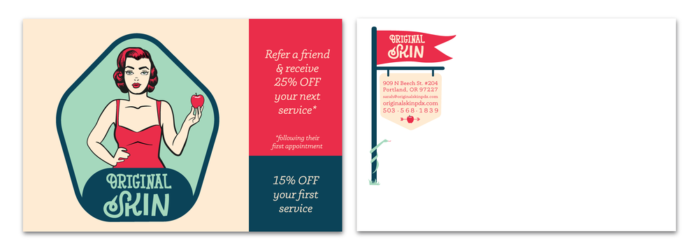 Postcard design showcasing two offers to new customers and for referrals.