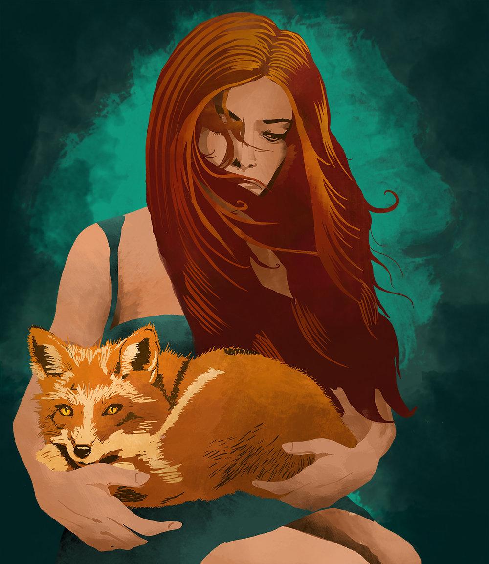 Full illustration of women holding fox.