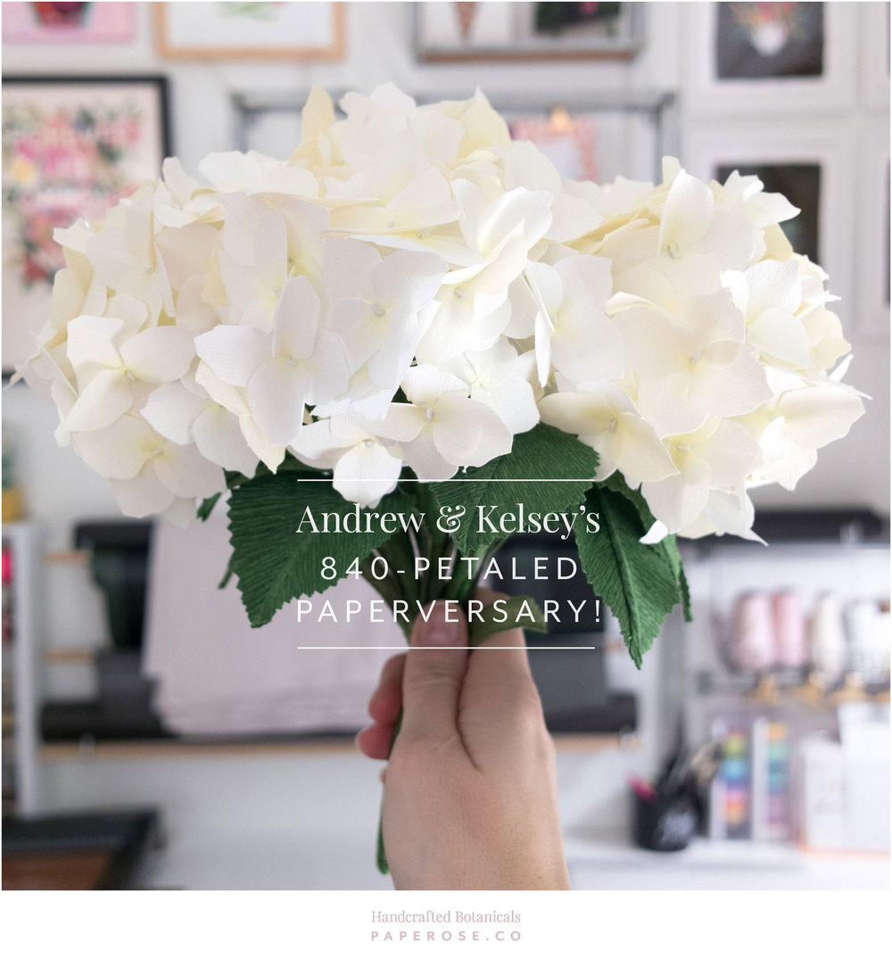 PaperRoseCo Paper Anniversary Hydrangea Bouquet
