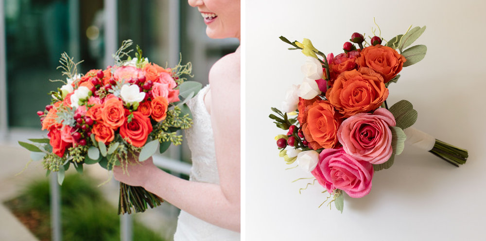 Paper Rose Co Wedding Bouquet Recreation Before & After Andrew