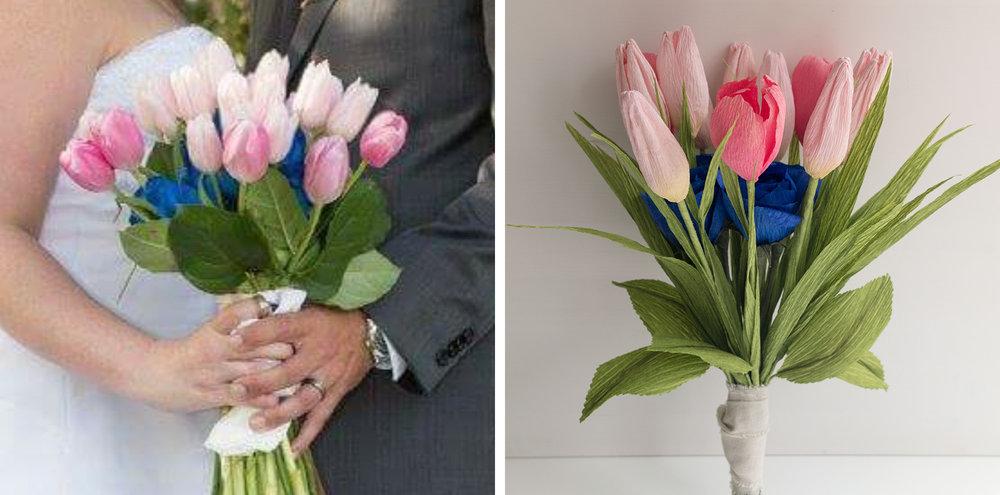 Paper Rose Co. Spring Fresh Wedding Bouquet Recreation Comparison