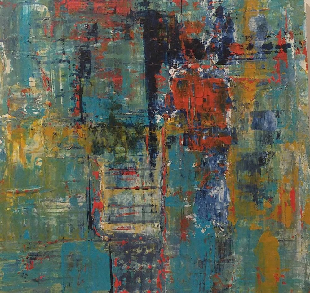 "Sarajevo 1    $225  16"" x 16"" acrylic on wood panel"