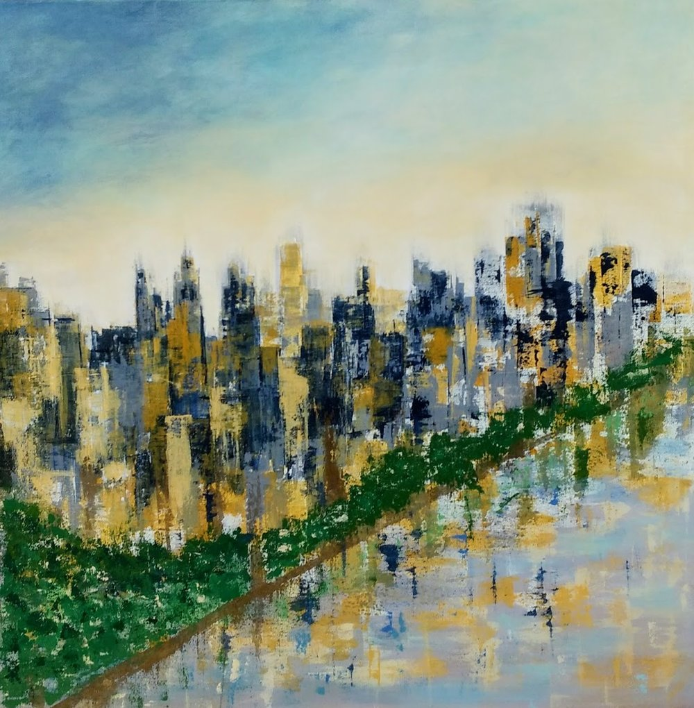"City on the River  $950  36 x 36"" acrylic on canvas"