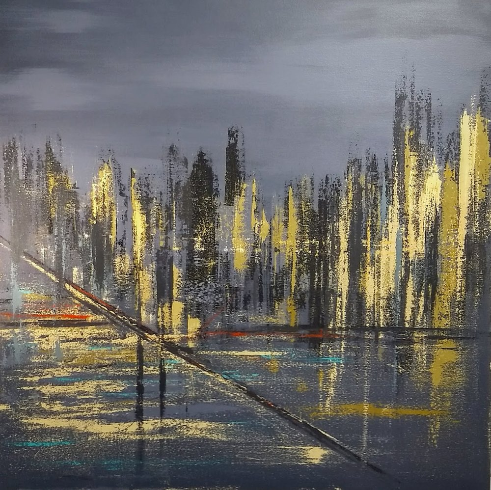 "Moonlight City    SOLD  48"" x 48"""