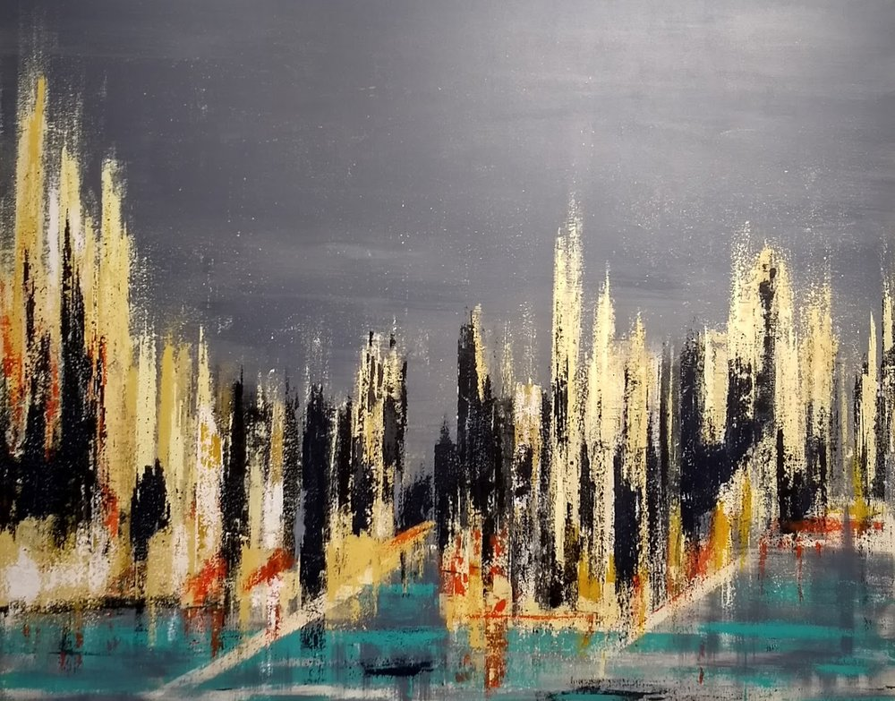 "City at Night 2  48"" x 60"" Acrylic"