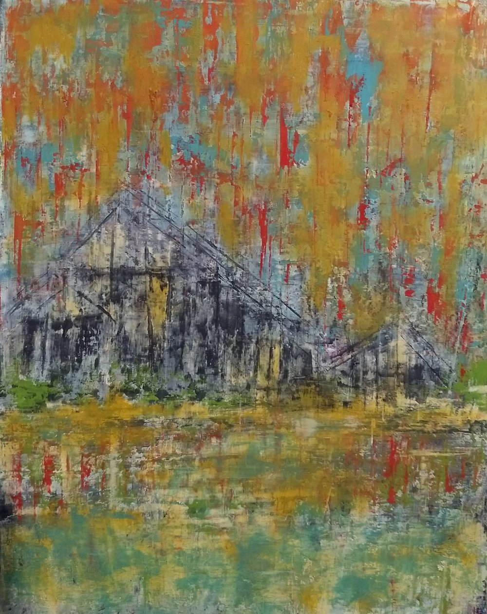 Fire on the Bayou      Oil and wax on wood panel  14 x 11""