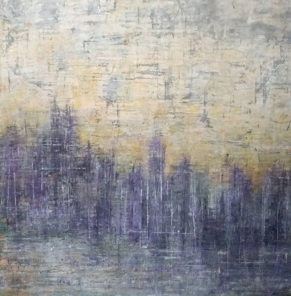 "Oil and wax on 2"" deep 20"" x 20"" wood panel"