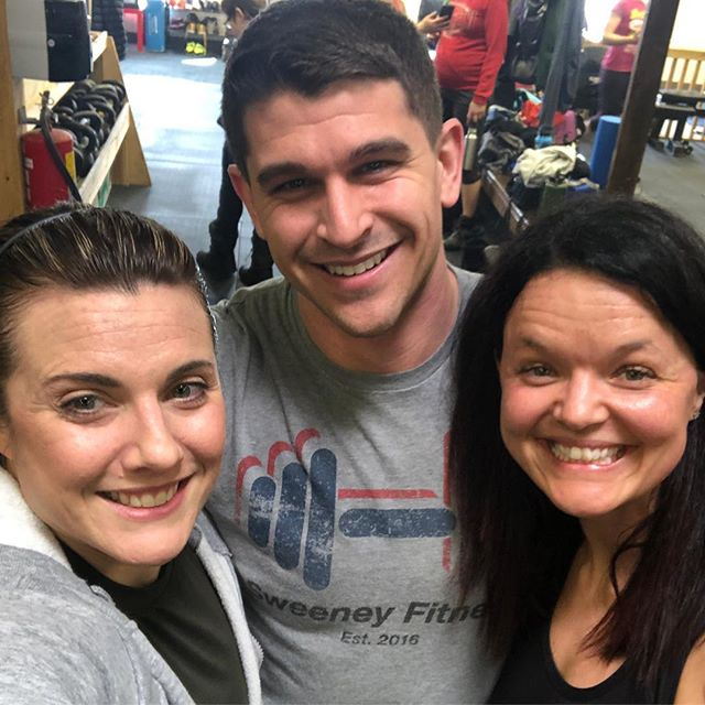 The gang was back together today at @timberwolf_fitness @danielle_marie0712 and I made it through the workout this week with no tape outlines of our bodies at the end. #madeit #didntdie #workingonmycardio check out that old school Sweeney Fitness shirt...❤️ them.