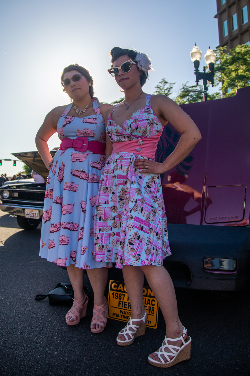 Krisa Ono and Alacia Thonley sport locally made dresses at the 2018 Ogden Car Show in downtown Ogden on June 1, 2018.
