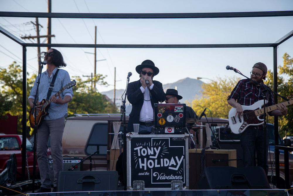 Tony Holiday and the Velvetones play on Ogden's Historic 25th Street for the 2018 Ogden Car Show on June 1, 2018.