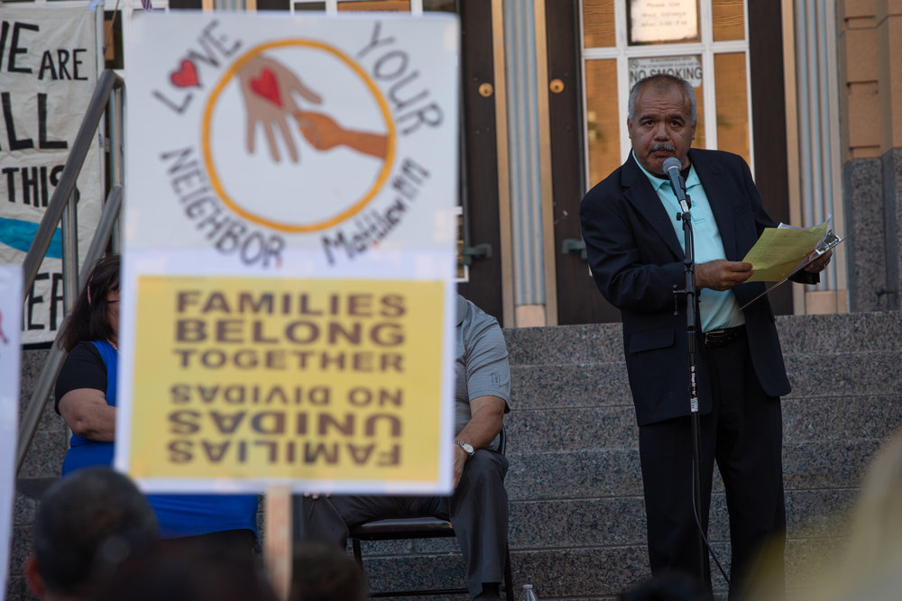 Eulogio Alejandre speaks from the steps of the Ogden Municipal Building, Wednesday, June 27, 2018 in downtown for a a rally to protest family separations at the US-Mexico border.