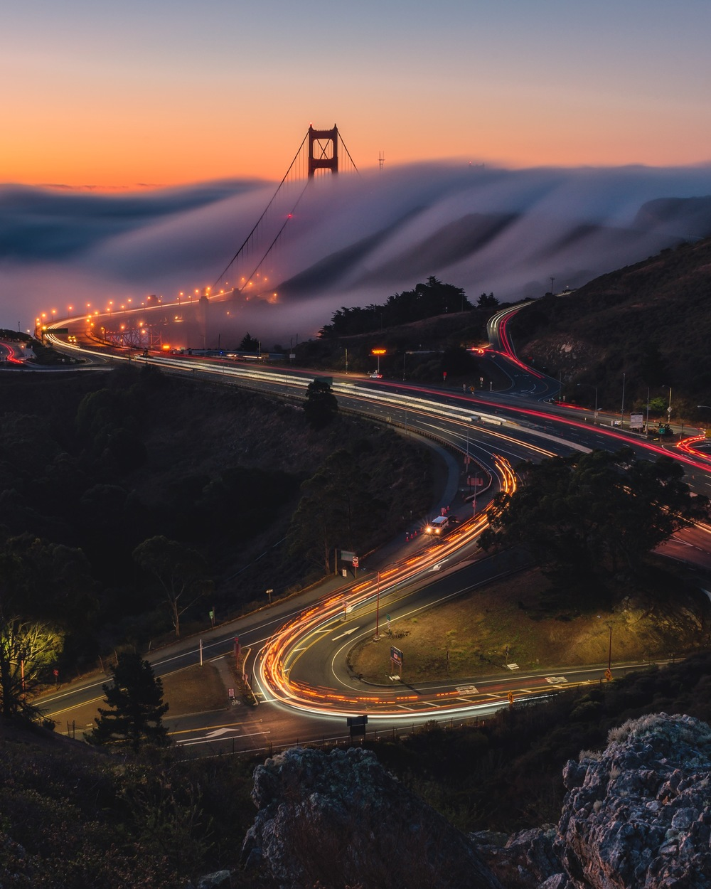 An amazing sunrise witnessed from Marin Headlands