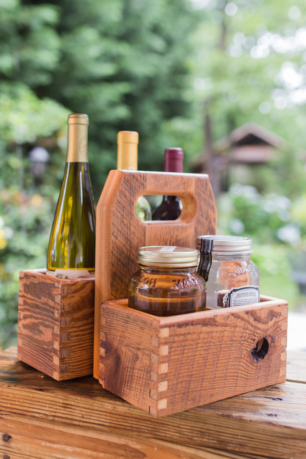 H&H mason jar wine bottle tote