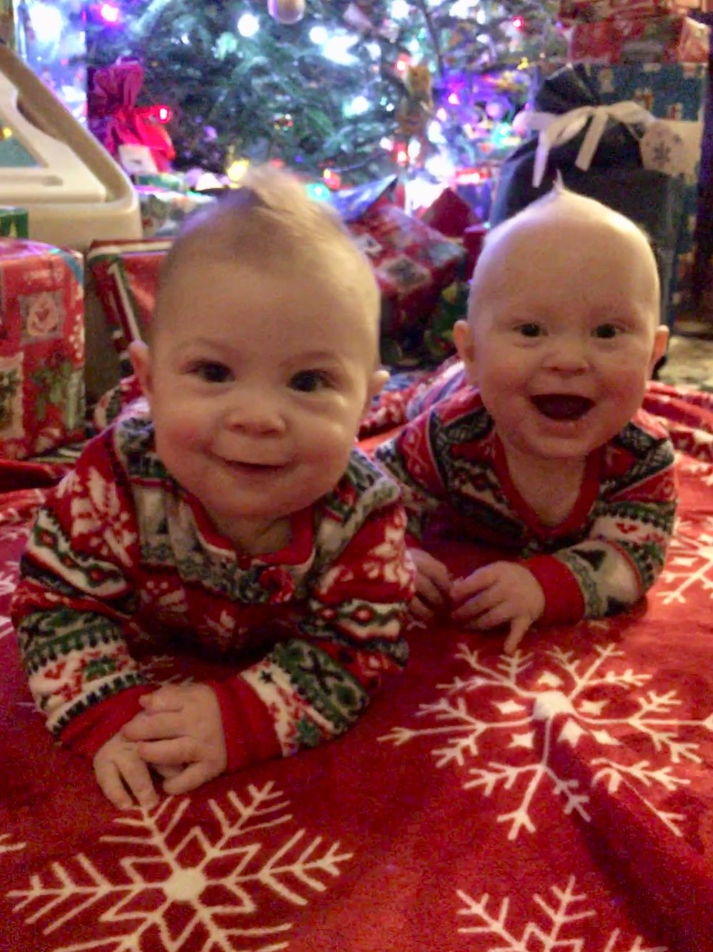 Ryker & Reece on Christmas morning