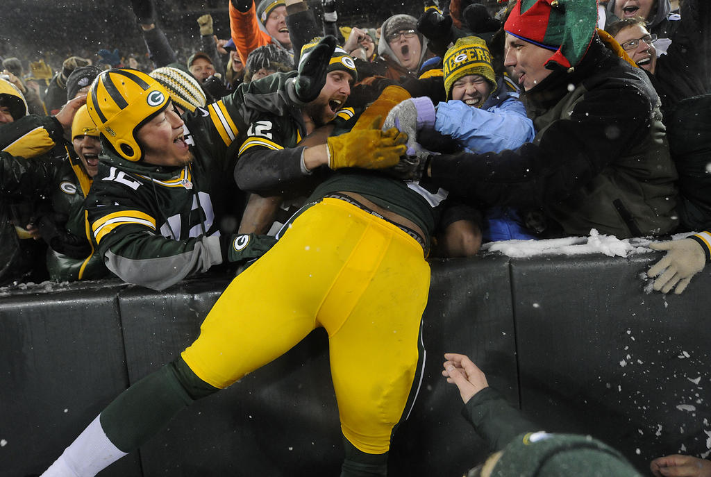 Mike Daniels has great fumble recovery skills, but poor Lambeau Leap skills.