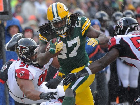 Eddie Lacy rumbled through the Falcons defense for solid yards on Sunday.