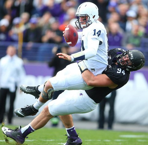 Dean Lowry (#94) grew up in Rockford, Ill. and attended Northwestern University.