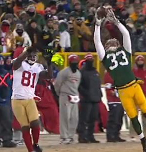 Defensive back Micah Hyde came this close to a game-winning pick-six against the 49ers.