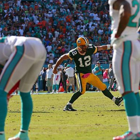 Rodgers fooled the Dolphins defense with a fake spike, and then tossed a game-winning touchdown pass.