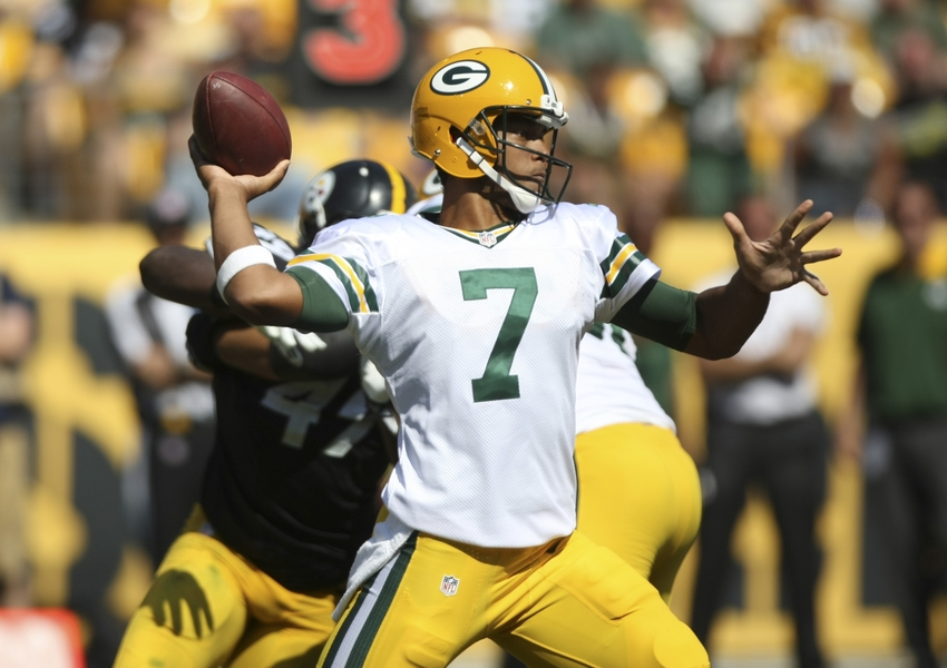 Aug 23, 2015; Pittsburgh, PA, USA; Green Bay Packers quarterback Brett Hundley (7) throws a pass against the Pittsburgh Steelers during the second half of the game at Heinz Field. The Steelers won the game, 24-19. Mandatory Credit: Jason Bridge-USA TODAY Sports