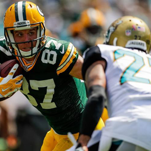 Jordy Nelson (#87) returned to action for the Packers against the Jaguars and caught Aaron Rodgers' first touchdown pass of the season.