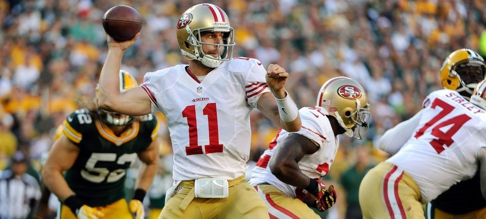 Alex Smith led the 49ers to a Week 1 win over the Packers in 2012, but would lose his job to backup Colin Kaepernick after an injury knocked him out of the lineup.