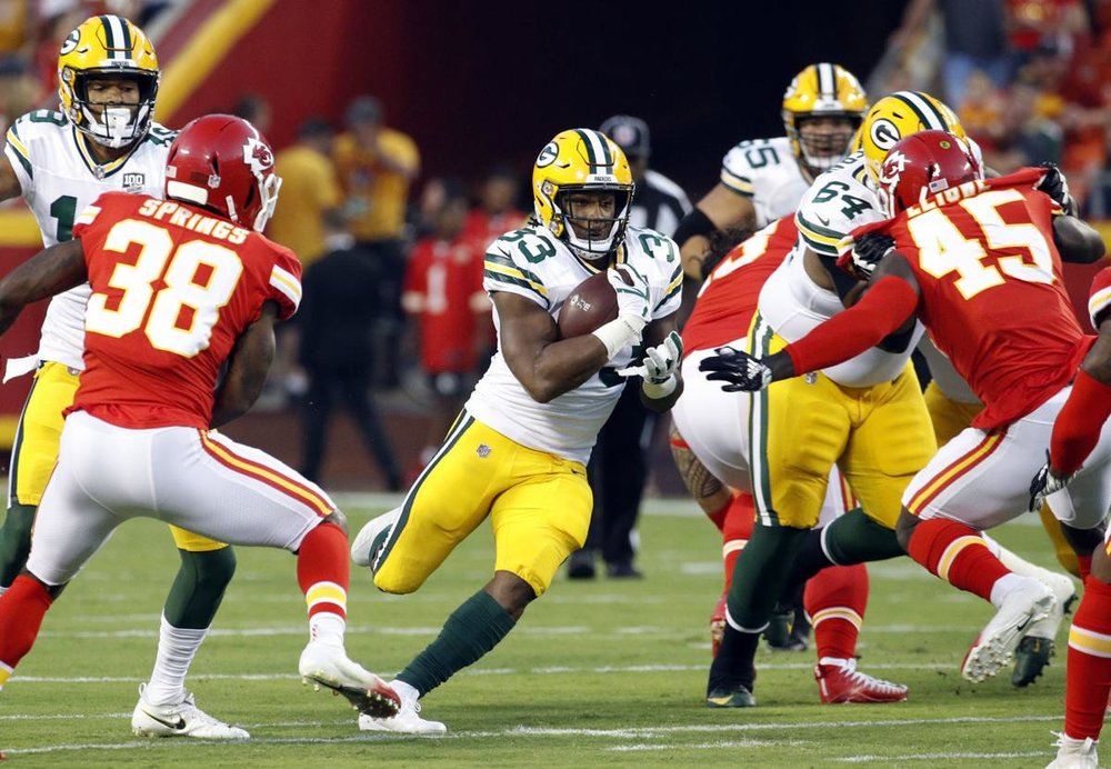 Running back Aaron Jones returns to the Packers backfield this week after a two-game suspension.