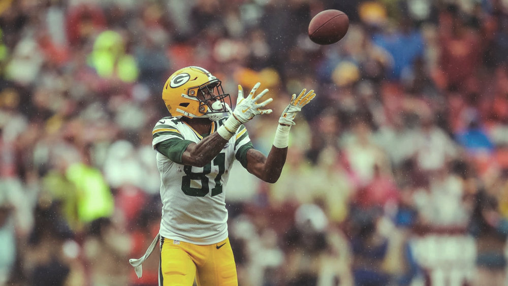 Packers wide receiver  Geronimo Allison  hauled in a big touchdown catch on Sunday, but the drive started with a 6-yard completion to tight end  Jimmy Graham .