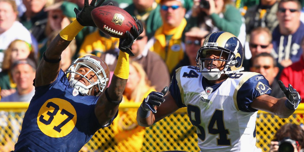 Sam Shields snagged an interception in the Packers' 2011 game against the Rams, but ended up with a concussion after a hard tackle on the return. After concussion issues led to his departure in Green Bay, Shields is now with the Rams.