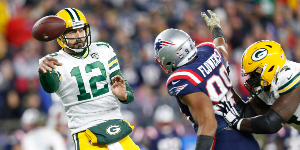 Aaron Rodgers was less than sharp against the Patriots, continuing a trend that now extends through most of the season.