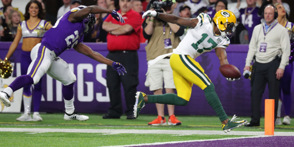 Davante Adams has found the end zone ten times so far this season, including this score against the Vikings.