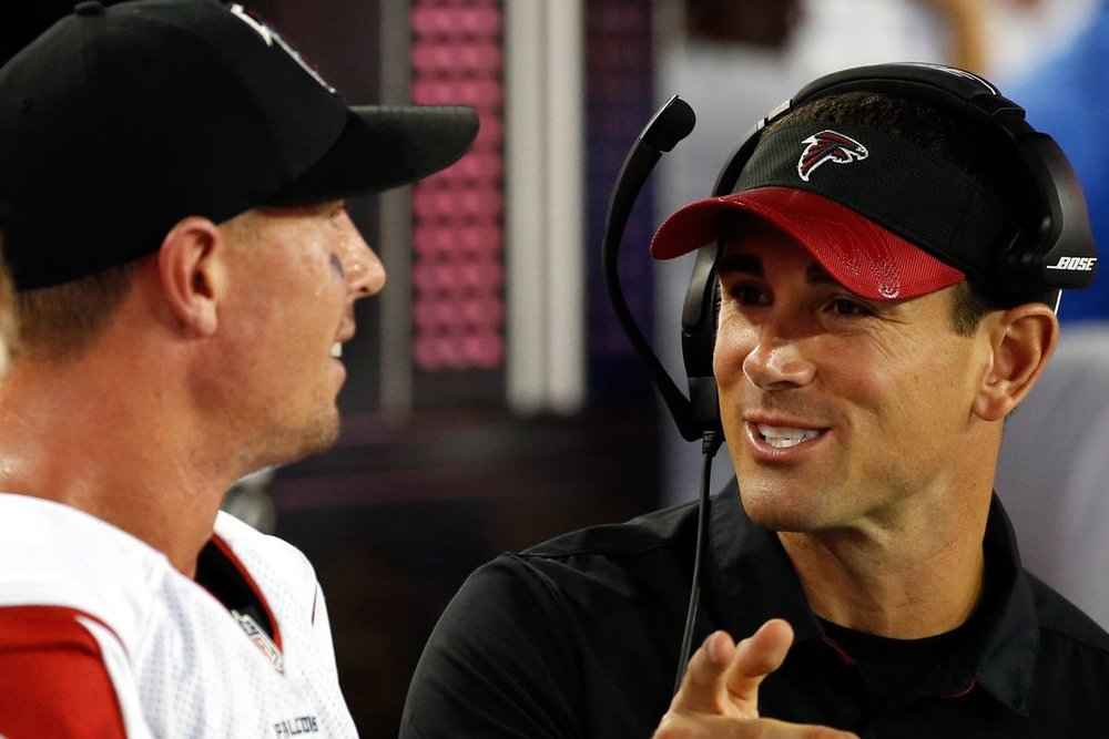Matt LaFleur  (right) was  Matt Ryan 's (left) quarterbacks coach during Ryan's MVP season in 2016.