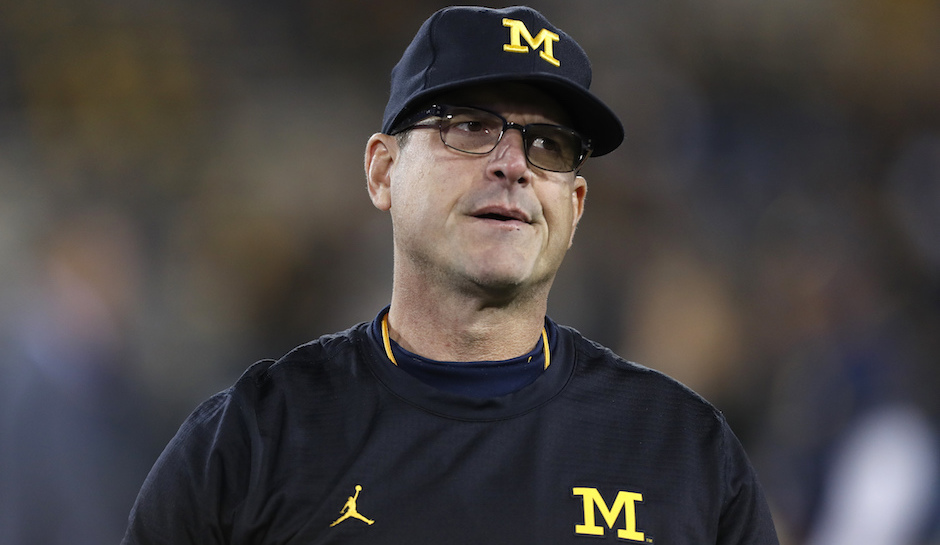 Michigan head coach  Jim Harbaugh  may one day return to the NFL, but it appears he is content staying in college for the time being.