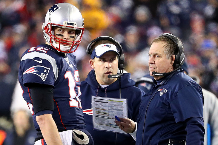 Many in the media doubt Patriots offensive coordinator  Josh McDaniels  (center) will ever leave New England.