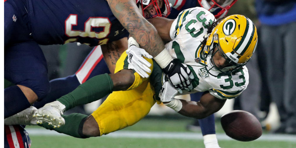 A crucial fumble by Aaron Jones ended the Packers' chances in New England.