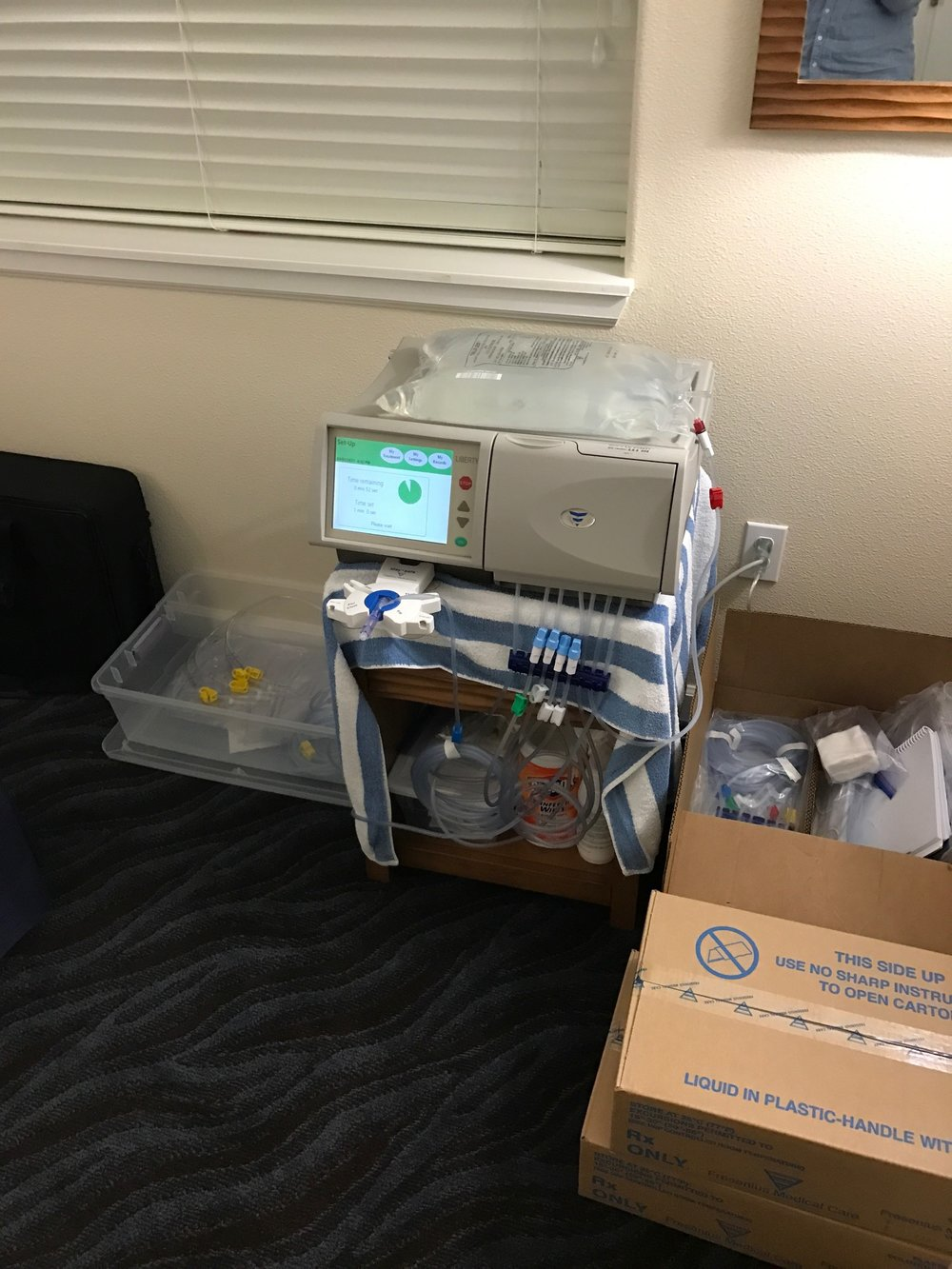 My dialysis machine and my supplies for a two night trip.