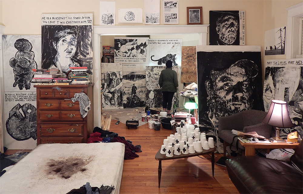 13 Baristas (Installation #1), acrylic, coffee, gum and mixed media on canvas with found objects, cups, mattress, coffee and model (St. Louis, MO, 2015)