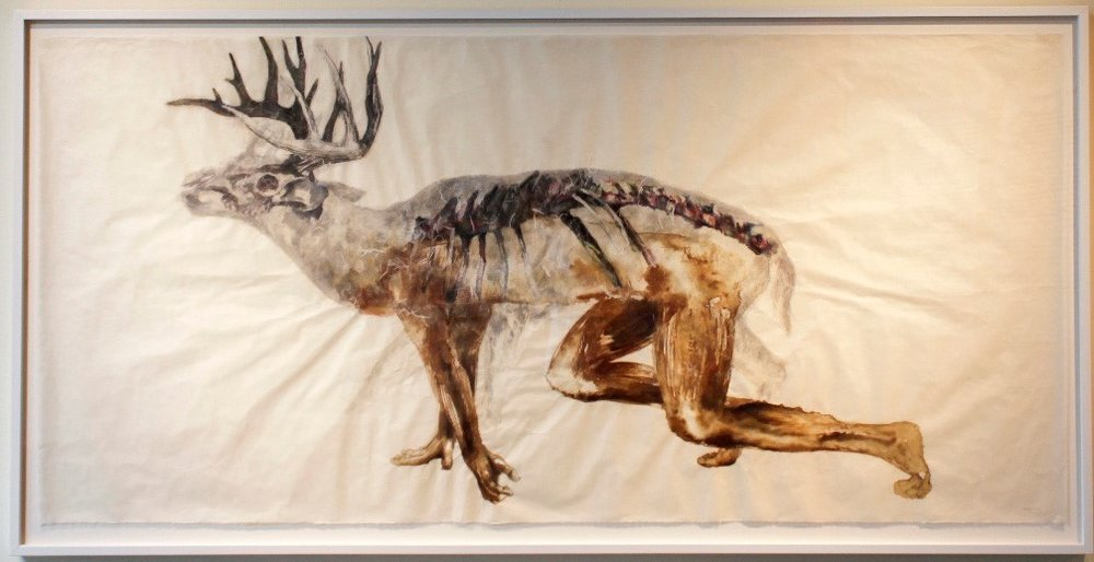 Juan-Jose Barboza-Gubo (First Prize Winner), Cervus Transformatio, artist blood, watercolor, gouache, graphite, Unryu and Kozo paper, 2011.
