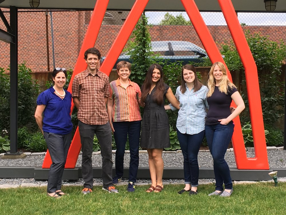 From right to left,  Cara Iacobucci  (Tufts University Museum studies professor) ,  John mccool (tufts University grad student intern), Laura Howick (Director of Education), Kledia Spiro (Marketing manager & previous Tufts University grad student INtern), Sally Meyer (tufts University grad student intern), Hilary Zelson (Tufts University grad student INtern).