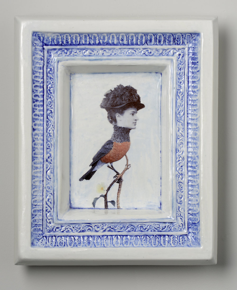 "Cynthia Consentino,  Framed: Victorian Birdie , 2014, earthenware, glaze, ceramics decals, 10 ¾ x 8 ¾ x 2"", Courtesy   of the artist"