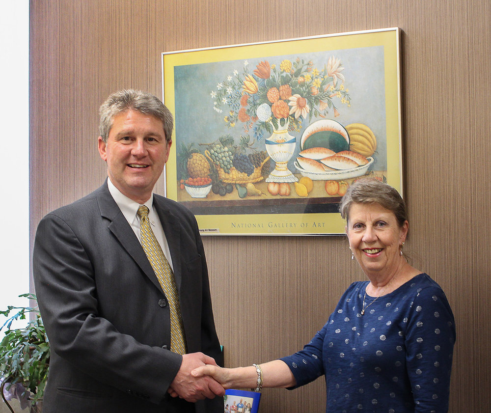 Bob Gallo, Vice President, Commercial Lending, Workers Credit Union, with Jane Keough, FAM's Director of Corporate Membership. Workers Credit Union is a proud Corporate Member of the Fitchburg Art Museum.
