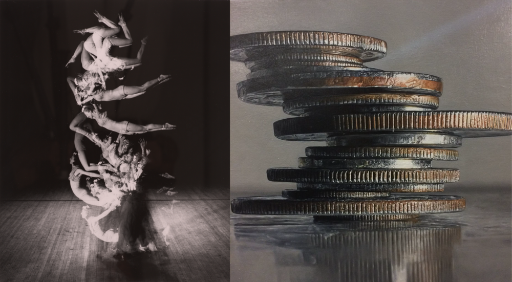 "Left: Harold Edgerton (American, 1903-1990),  Tumblers , 1942, gelatin silver print, 20"" x 16"", Gift of the Harold and Esther Edgerton Family Foundation  Right: Tess Barbato,  All of Which are American Dreams , 2017, oil on canvas, 30"" x 30"""